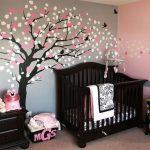 Dark Brown Baby Crib Cherry Blossom Tree Wall Decal Dark Brown Dresser