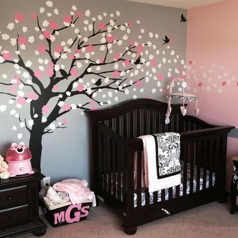 dark brown baby crib cherry blossom tree wall decal dark brown dresser