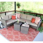 Dark Toned Wicker Outdoor Seat With Neutral Cushion Addition Wicker Coffee Tables Red Area Rug With Artsy White Patterns