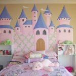 Fancy Kids' Room Idea With Walt Disney's Castle Wall Decal A Couple Of Open Shelves In White