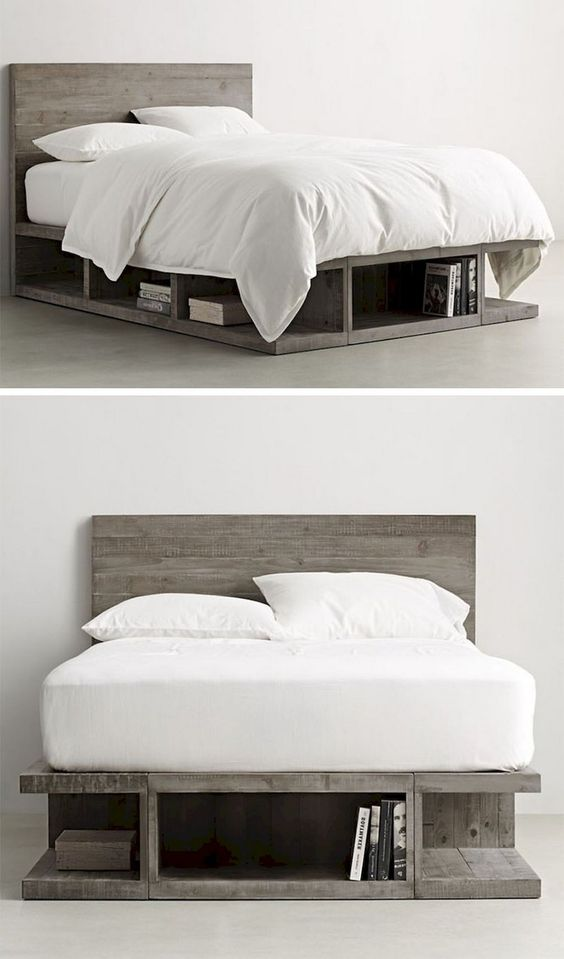 gray finish wood bed frame with headboard and open shelves under bed