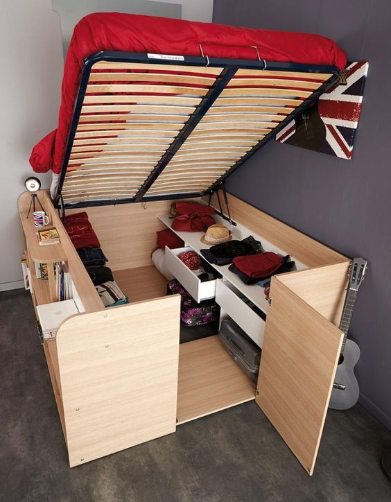 higher wood bed frame with super huge strorage space under the bed and side shelves for books
