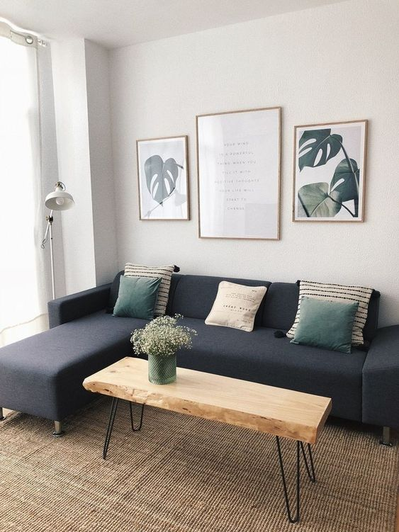navy blue modular sofa with throw pillows hair pin leg bench seat as the coffee table