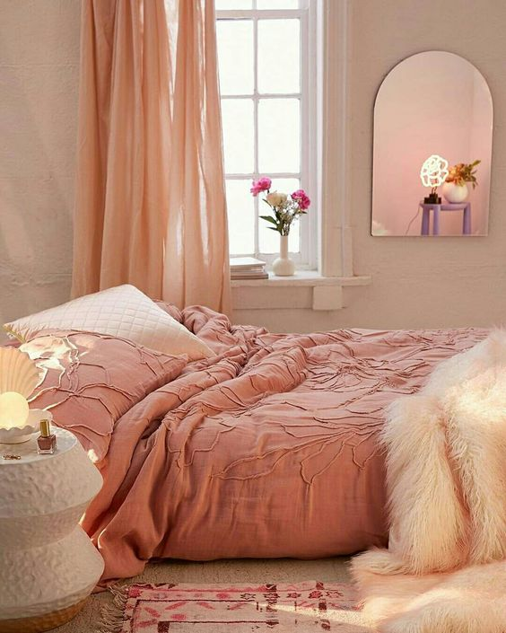 pastel draperies pastel duvet cover and pillow rug with pink accents frameless wall mirror