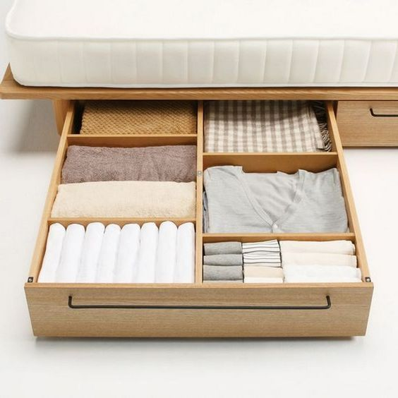 pull out drawers under bed made of oraganic wood