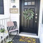 Small Veranda Design With White Railing System Corner Chair In Black Striped Black White Throw Pillow Pink Throw Blanket Small Entry Rug In Black And White Colorful Entry Mat