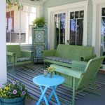 Summer Veranda Idea Colorful Stripes Area Rug Outdoor Furniture Set In Green Round Top Side Table In Blue Corner Storage Solution