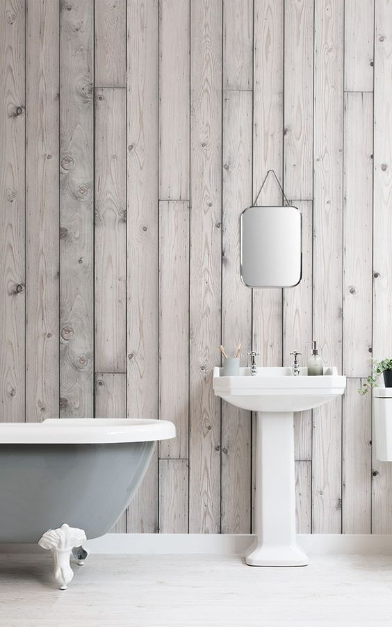 superminimalist bathroom design white farmhouse sink silver toned wood wall murals clawfoot bathtub