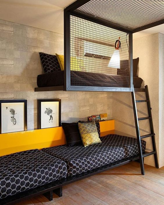 teenage boy's room with upper sleeping area with semi privacy panel ladder and additional sitting area under the bed