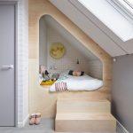 Tiny Attic With Skylight And Tiny Loft Bed Made Of Light Wood