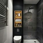 Walk In Shower With Black Walls And White Flooring System Recessed Shelving Unit With Hidden Lamps Floating Closet