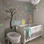 White Baby Crib Colorful Tree And Animal Wall Stickers Cute Pendant Bare Concrete Floors