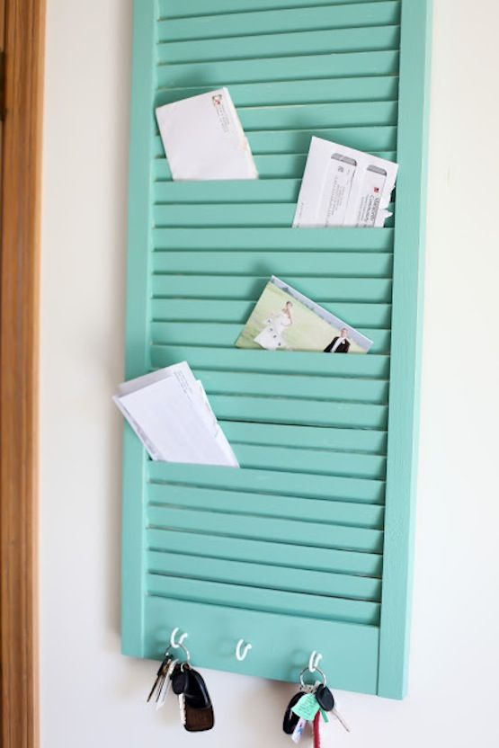 window shutter panel in blue for sticking notes and letters