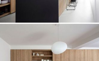 wood matte black kitchen island in minimalist look