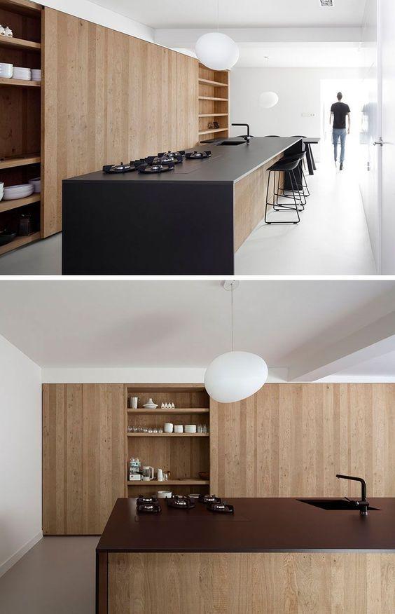 wood matte black kitchen island in minimalist look