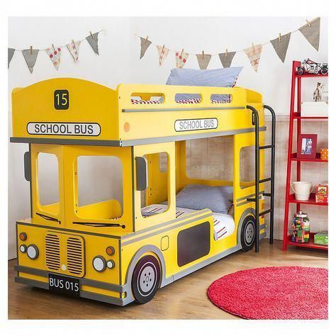 yellow school bus bed frame idea round shape rug in red