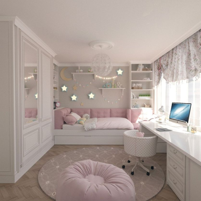 young girl's bedroom with ornate stars and moon white shelving units white closet round area rug comfy beanbag rose shade headboard and sideboard white table and chair for study