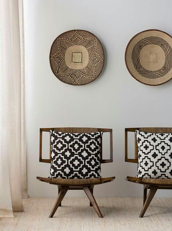 Africa Tonga baskets as wall decors unique chairs throw pillows with geometric patterns
