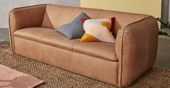Berko sofa in tan leather finish