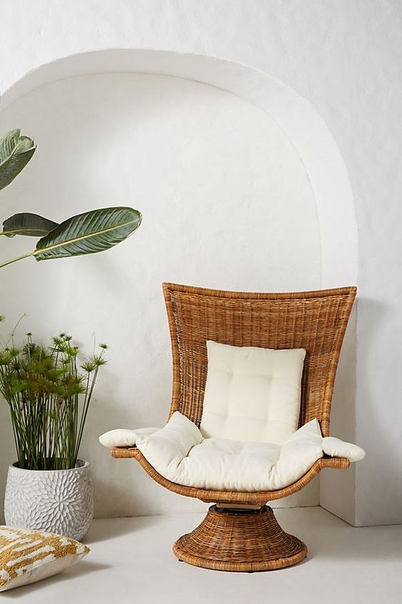 Hallie swivel chair with white cushions in seat back and armrests