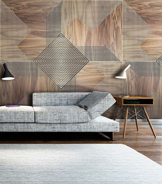 artsy wood cladding wall with modern geometric patterns modern gray modular sofa midcentury modern wood side table with tripod like legs