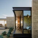 Concrete Slab Wall Exterior Clear Glass Windows With Solid Wood Frames In Black Deck With Black Steel Frame Filled With Wood Planks