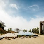 Minimalist Outdoor Swimming Pool Outdoor Sitting Area With Concrete Base