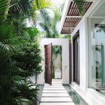 Modern White Pathway With Watery Canals In Both Sides Tropical Greenery