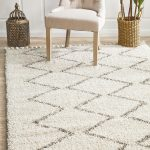 Modern White Shag Rug With Geometric Patterns Tufted Upholstery Chair In White Houseplant With Woven Planter Traditional Moroccan Inspired Decoration