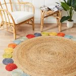 Natural Jute Area Rug In Round Shape With Colorful Pompom Addition