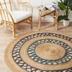 Natural Jute Area Rug With Blue Highlight