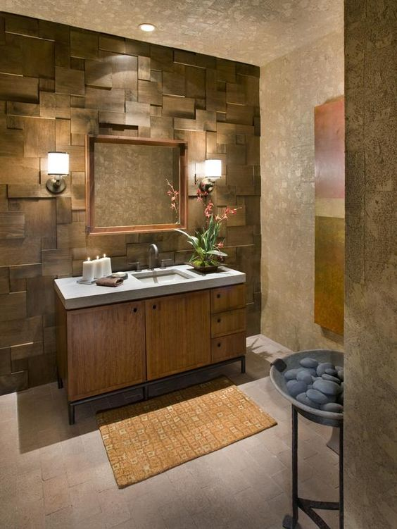 reclaimed wood paneling bathroom vanity with white top and wooden cabinets