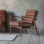 Retro Armchair With Brown Leather Upholstery And Solid Ash Wood Frame