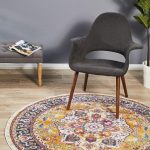 Round Shaped Persian Rug With Geometric And Colorful Patterns