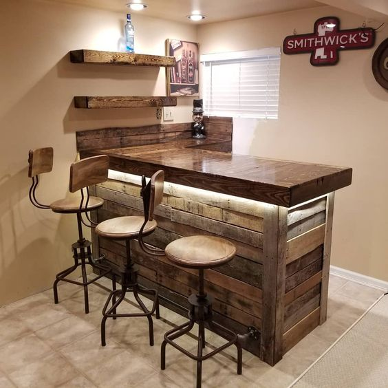 small and practical home bar in rustic