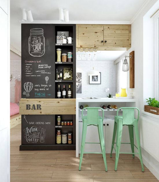 small home bar with pastel stools chalkboard shelving unit white counter with under storage