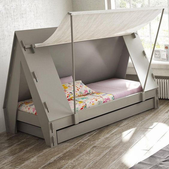 tent bed idea in gray with white linen cover