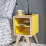 Vintage Nightstand In Vivid Yellow