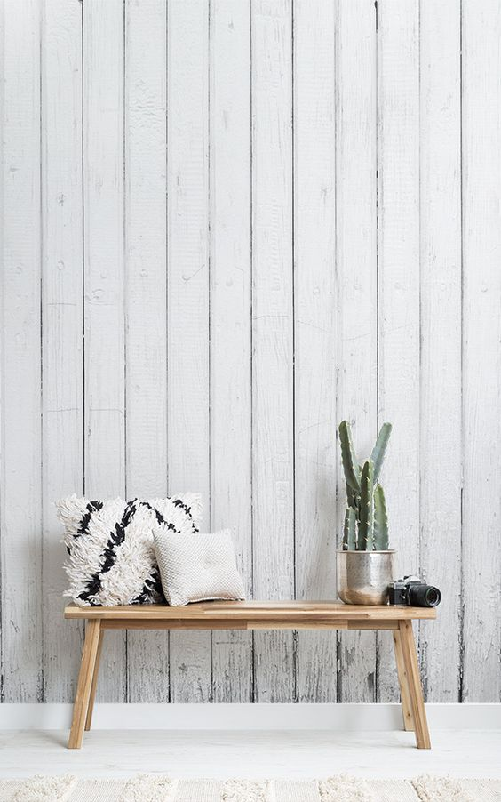 whitewashed wall texture idea wooden bench seat with throw pillows