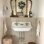 Antique Vanity Mirror With Wood Crafted Frame Farmhouse Sink In White Ornate Woven Basket Small And Low Profile Wood Stool