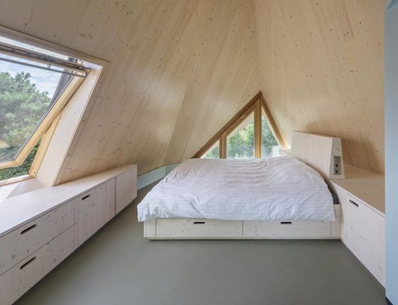 assymmetric attic bedroom idea platform bed frame with headboard and storage underneath bay window with under storage space asymmetric glass windows