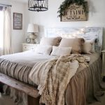 Bed Frame With Whitewashed Headboard Worn Out Bedding With Slipcover Antique Chandelier In Black Wood Bench Bed