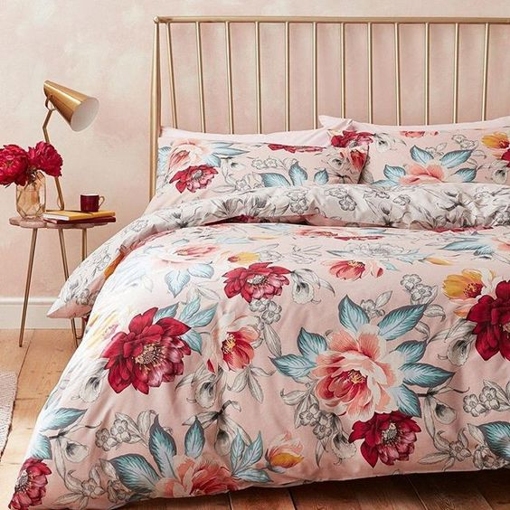 bedding for summer with blooming colorful flower prints brass finish bedroom furniture