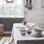 Dining Table With White Tablecloth Wood Bench With Throw Blanket Modern Industrial Pendants