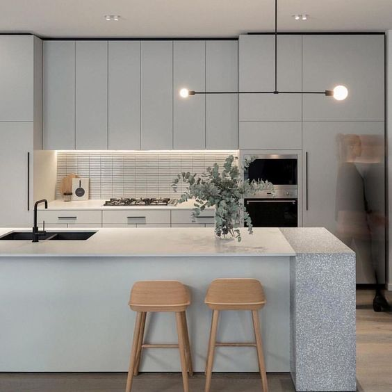 in white kitchen with flat door cabinets kitchen island and wood stools