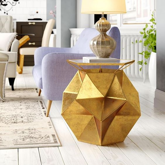 jewel shaped side table with gold foil finish