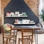 Kids' Sitting Area With Chalkboard Table Wooden Chairs Beanbags Bookshelves In White Wooden Walls With Modern Black Highlight