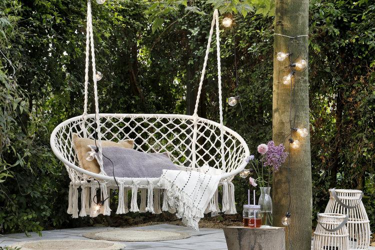 macrame hanging chair designed as similar as loveseat