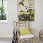 Rattan Chair With Cushions And Throw Blanket