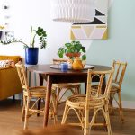 Rattan Dining Chairs Dark Finish Wood Dining Table With Round Top